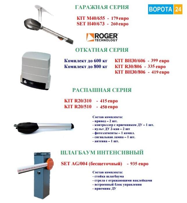 итальянская автоматика Roger Technology в компании «Ворота 24» по сниженным ценам