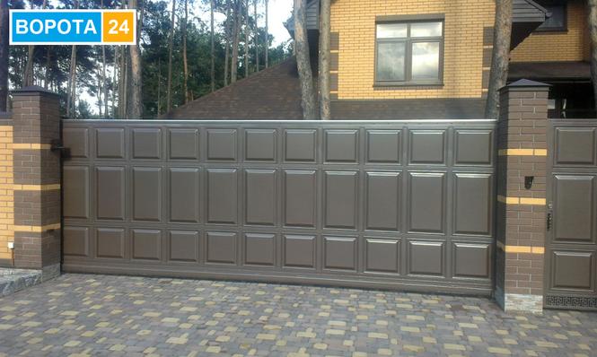 Автоматические ворота стальная филенка Киев